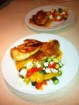 Honey drizzled chicken breasts and steamed vegies